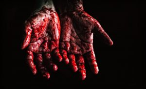 hands covered in blood
