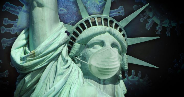 Statue of Liberty with Face Mask